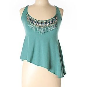 Etro Embellished Beaded Asymmetrical Top Teal M